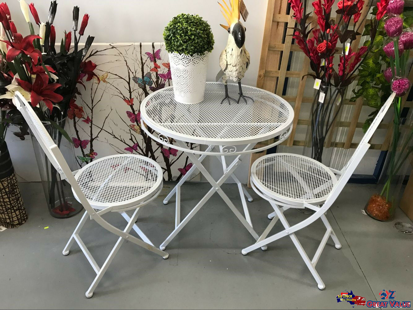 White Metal Garden Side Table: METAL OUTDOOR TEA Table White Foldable Chair Table 3pcs