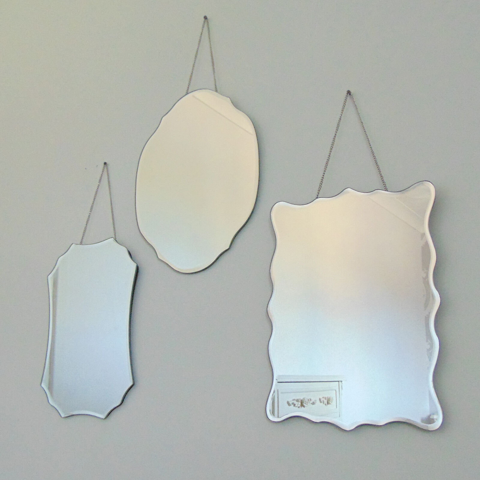 Set Of 3 Hanging Wall Mirror Shabby Vintage Antique Home