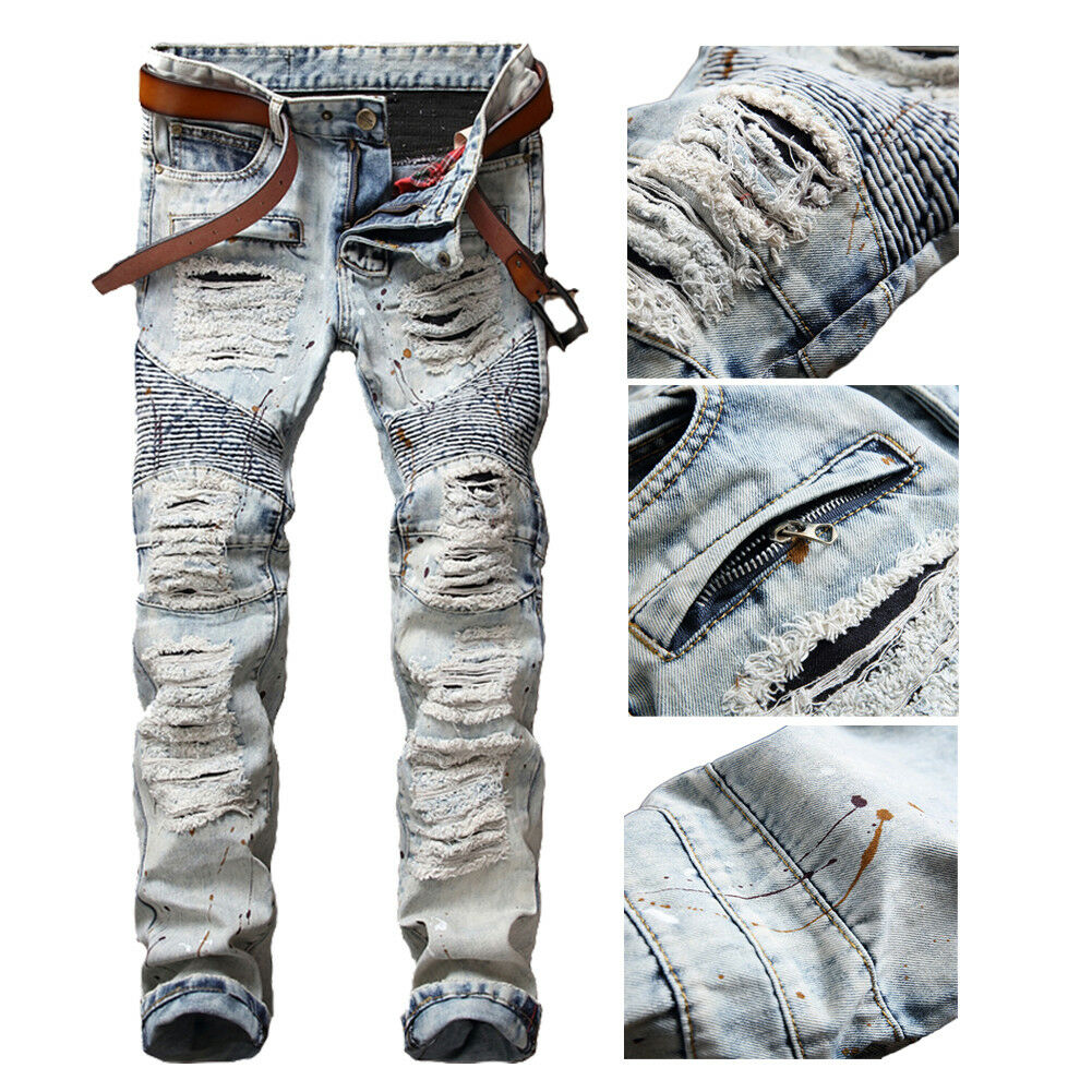 Men Bleached Light Blue Straight Biker Jeans Ripped Distroyed Slim Black Faded Denim Pants 1 Of 11free Shipping See More