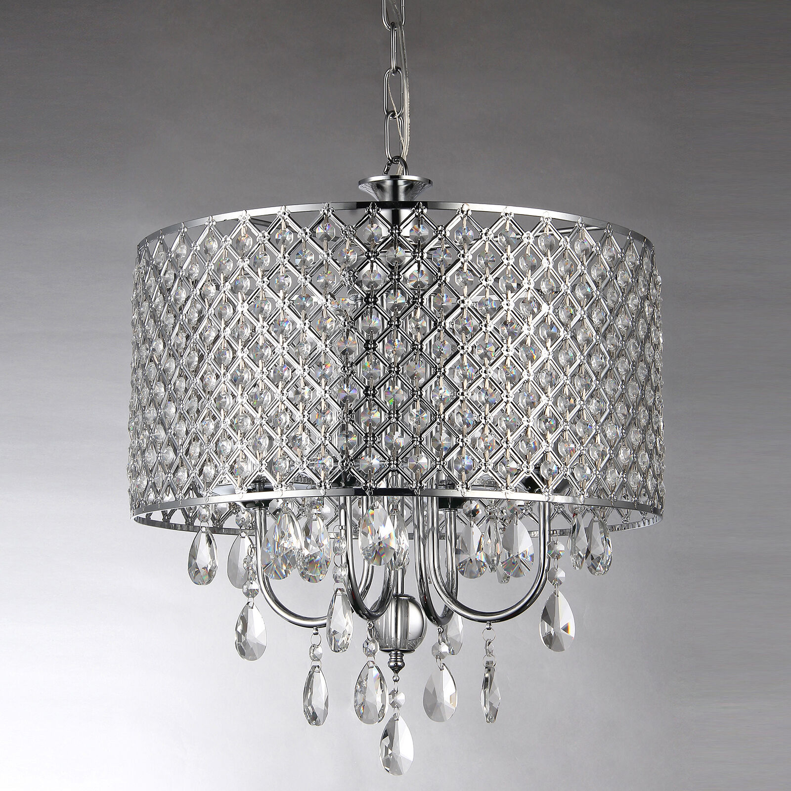 Marya 4 Light Round Drum Crystal Chandelier Ceiling Fixture Chrome Finish 1 Of 10only Available