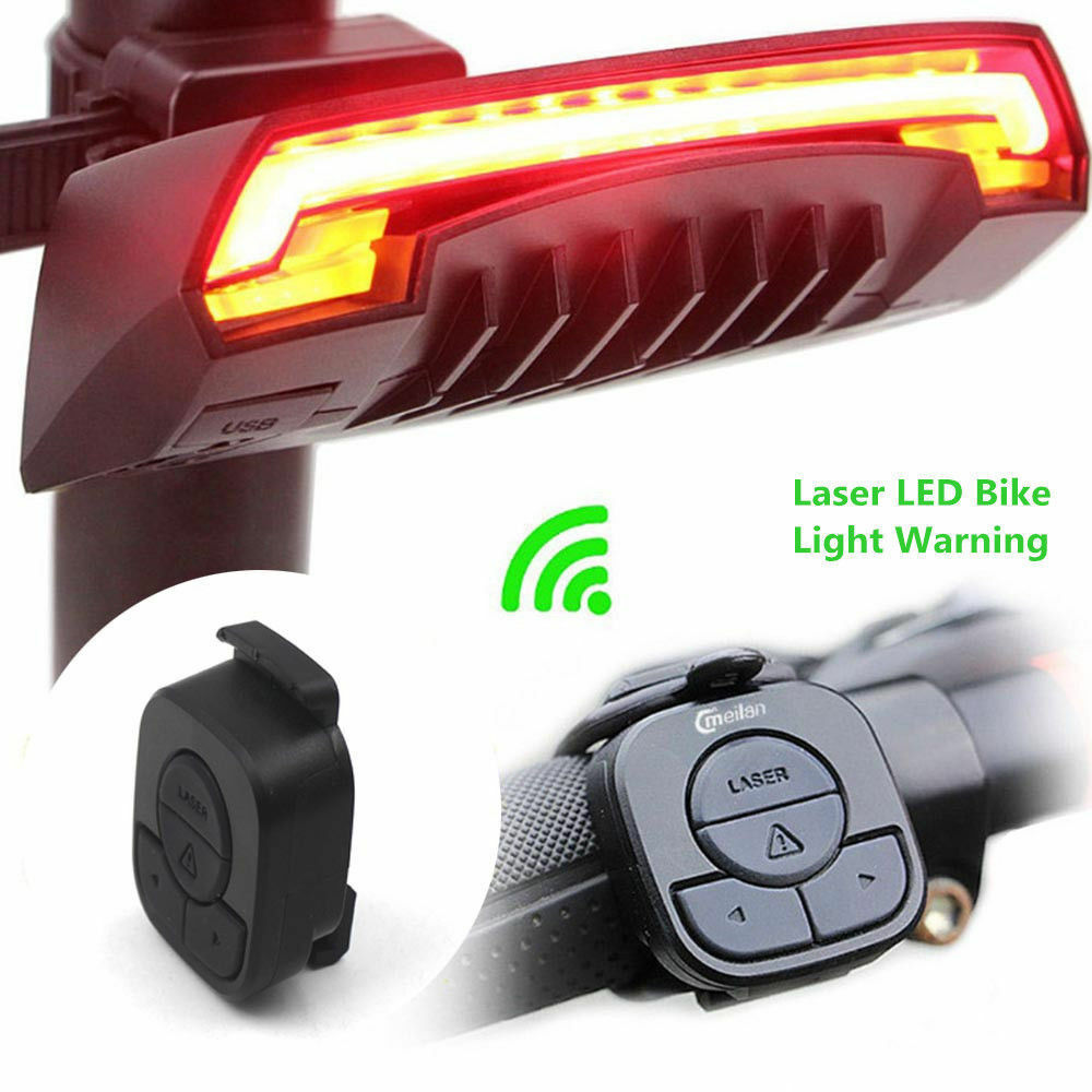 led fahrrad r cklicht usb blinker laser fernbedienung fahrradlicht lampe w akku eur 25 95. Black Bedroom Furniture Sets. Home Design Ideas