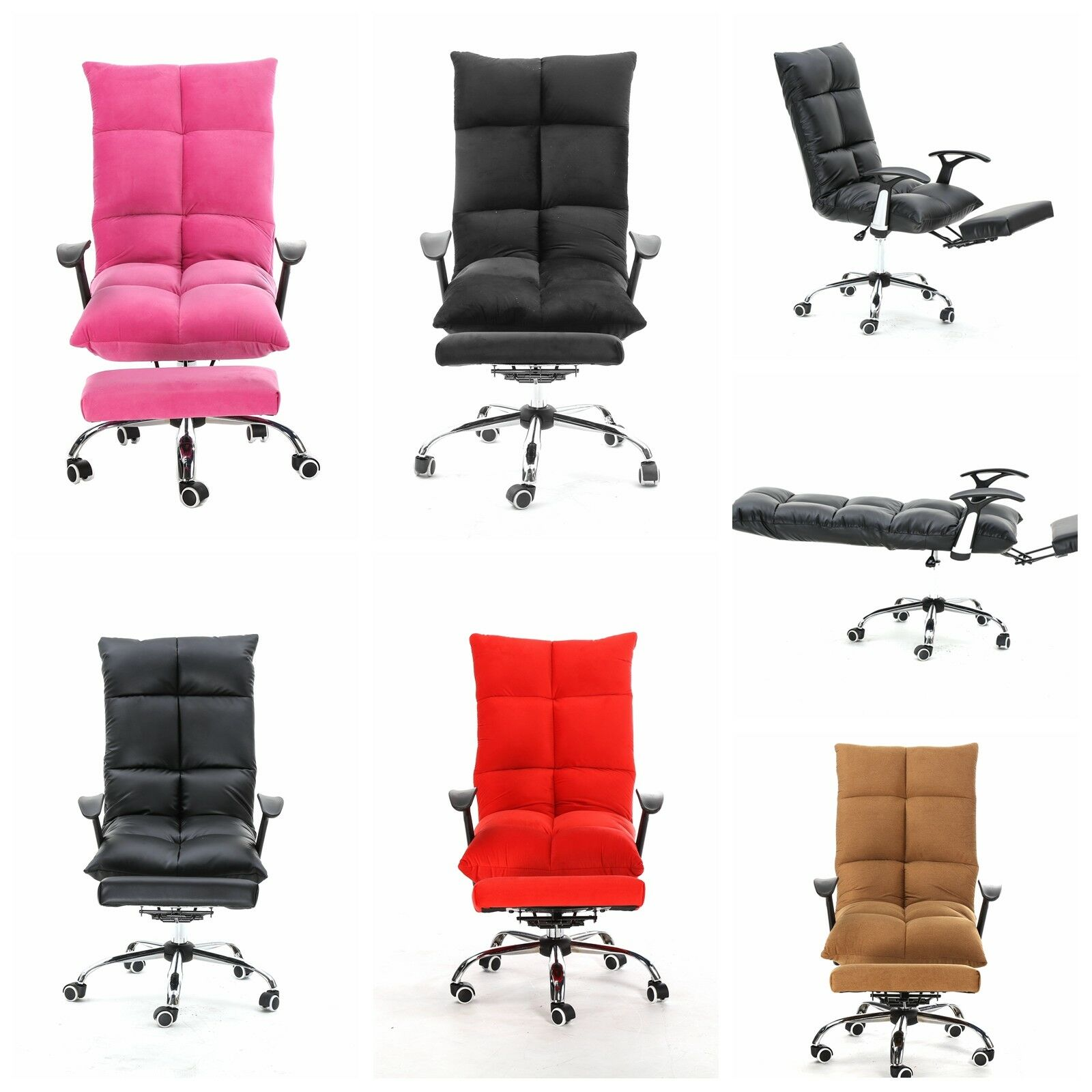 Tatami Computer Office Desk Chair Footrest High Back Microfiber Pu Leather 1 Of 3free