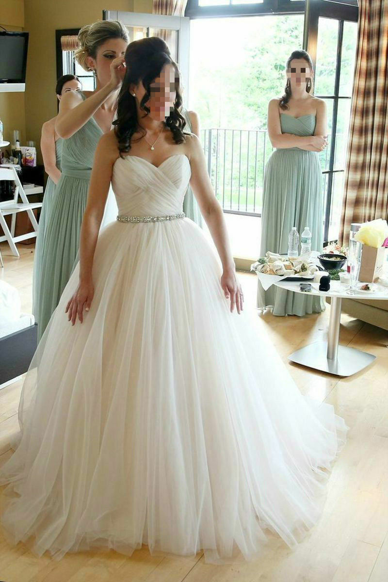 NEW TULLE BRIDE Bridesmaid Wedding Gown Prom Ball Dress Size 6-8-10 ...