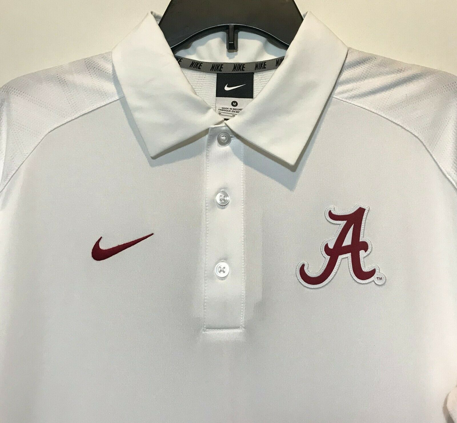 New 75 Nike Alabama Crimson Tide Men Dri Fit Polo Shirt Sewn Logo