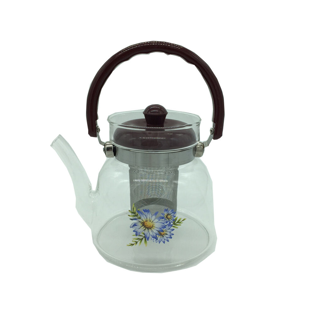 floral 1200ml glass infusion tea pot with loose leaf. Black Bedroom Furniture Sets. Home Design Ideas
