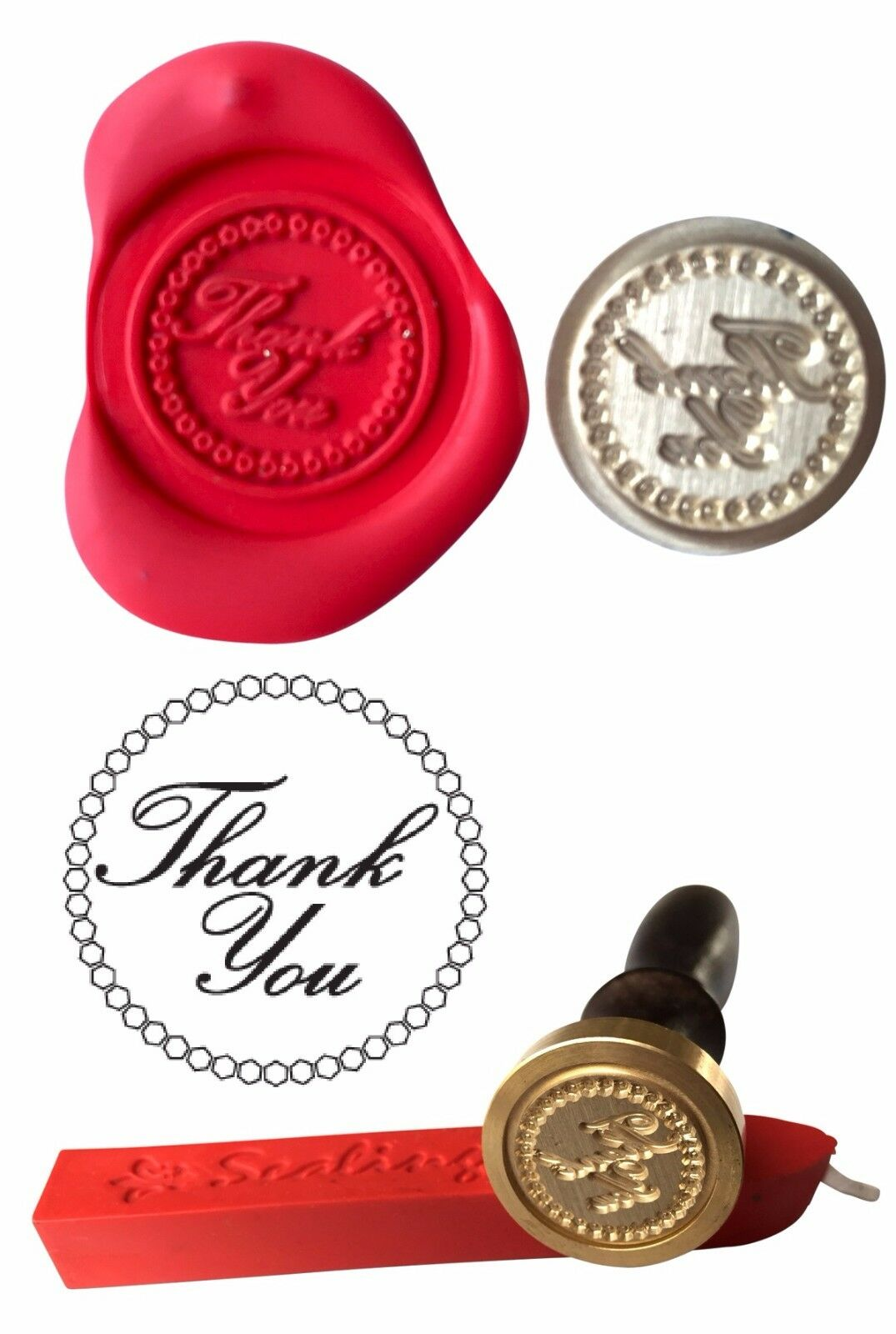 WAX STAMP, THANK YOU Coin Seal and Red Wax Stick XWSC074-KIT - £9.74 ...