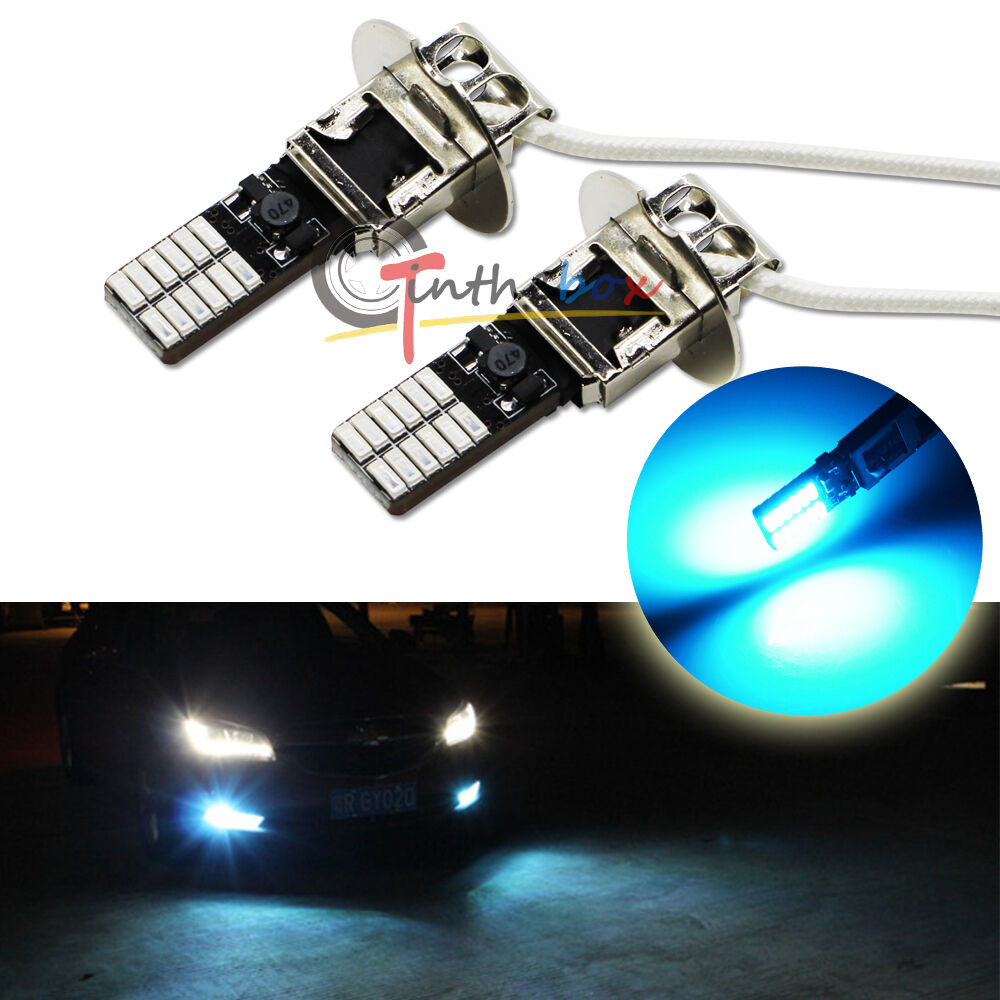 2PCS 10000K Ice Blue 24-SMD High Power H3 LED Bulbs For Fog Lights Driving 1 of 7FREE Shipping See More