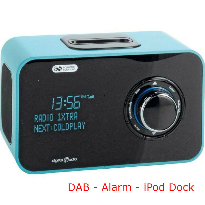 acoustic solutions alarm clock dab radio ipod iphone dock docking green new picclick uk. Black Bedroom Furniture Sets. Home Design Ideas