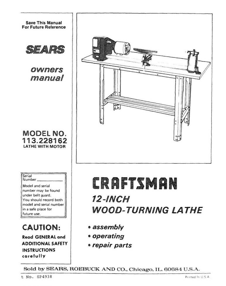 Craftsman 113228162 Lathe Owners Instruction Manual 1699 Picclick