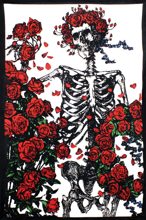 3D GRATEFUL DEAD Bertha Skeleton Roses Tapestry Curtain Cool Wall ...