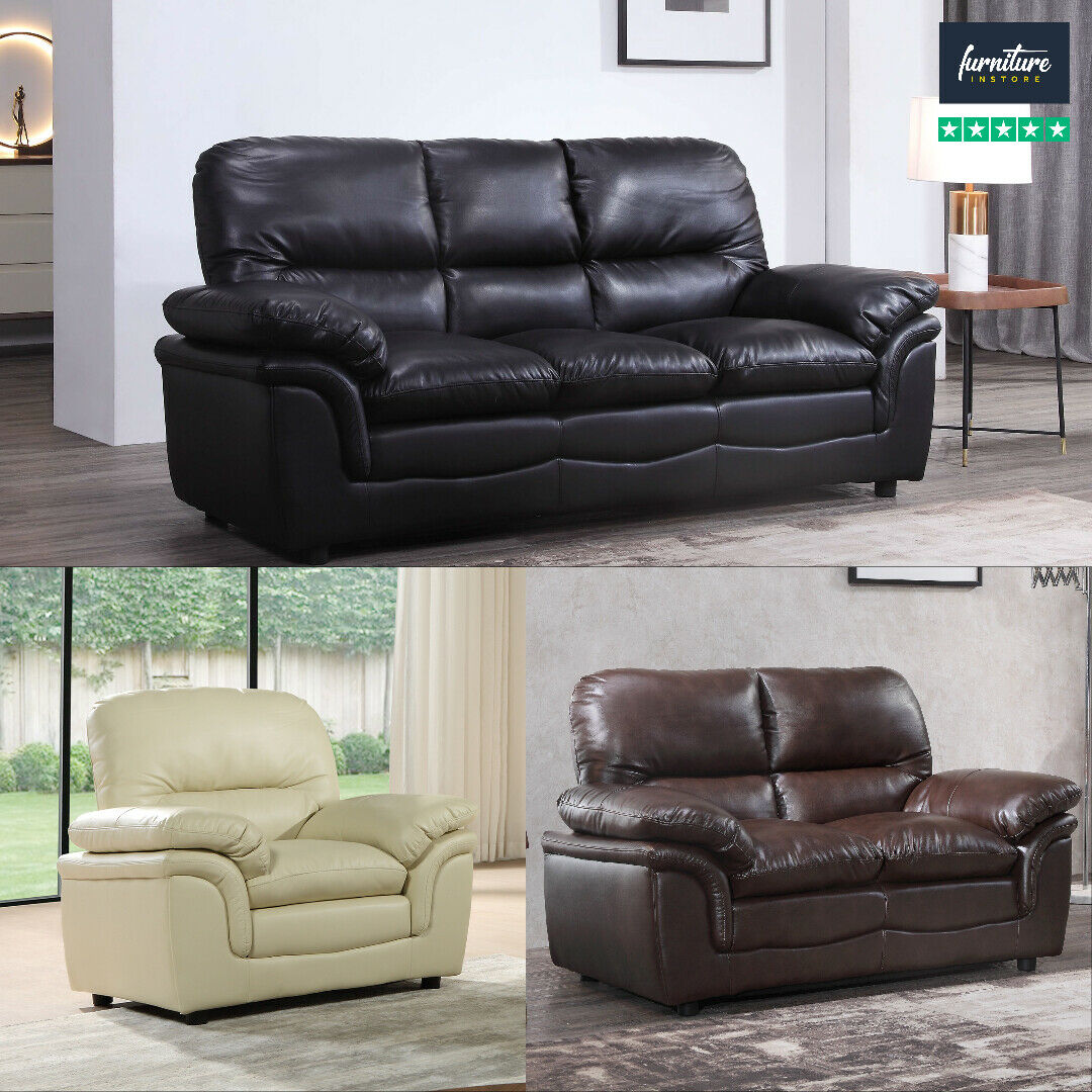 verona leather sofas suite 3 2 1 stool 3 colours sofa set free delivery 7 days. Black Bedroom Furniture Sets. Home Design Ideas