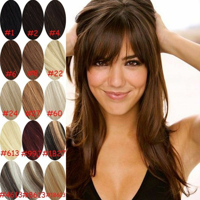 Real Natural Hair Extension Clip In Front Hair Bangs Fringe Human
