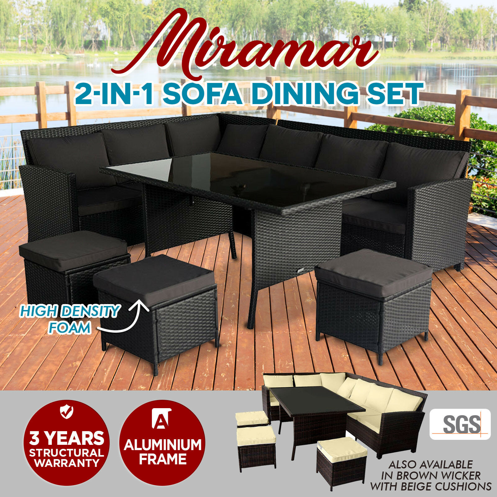 NEW 2 in 1 Wicker Outdoor Sofa Dining Set Garden Table Chair Setting Black Br