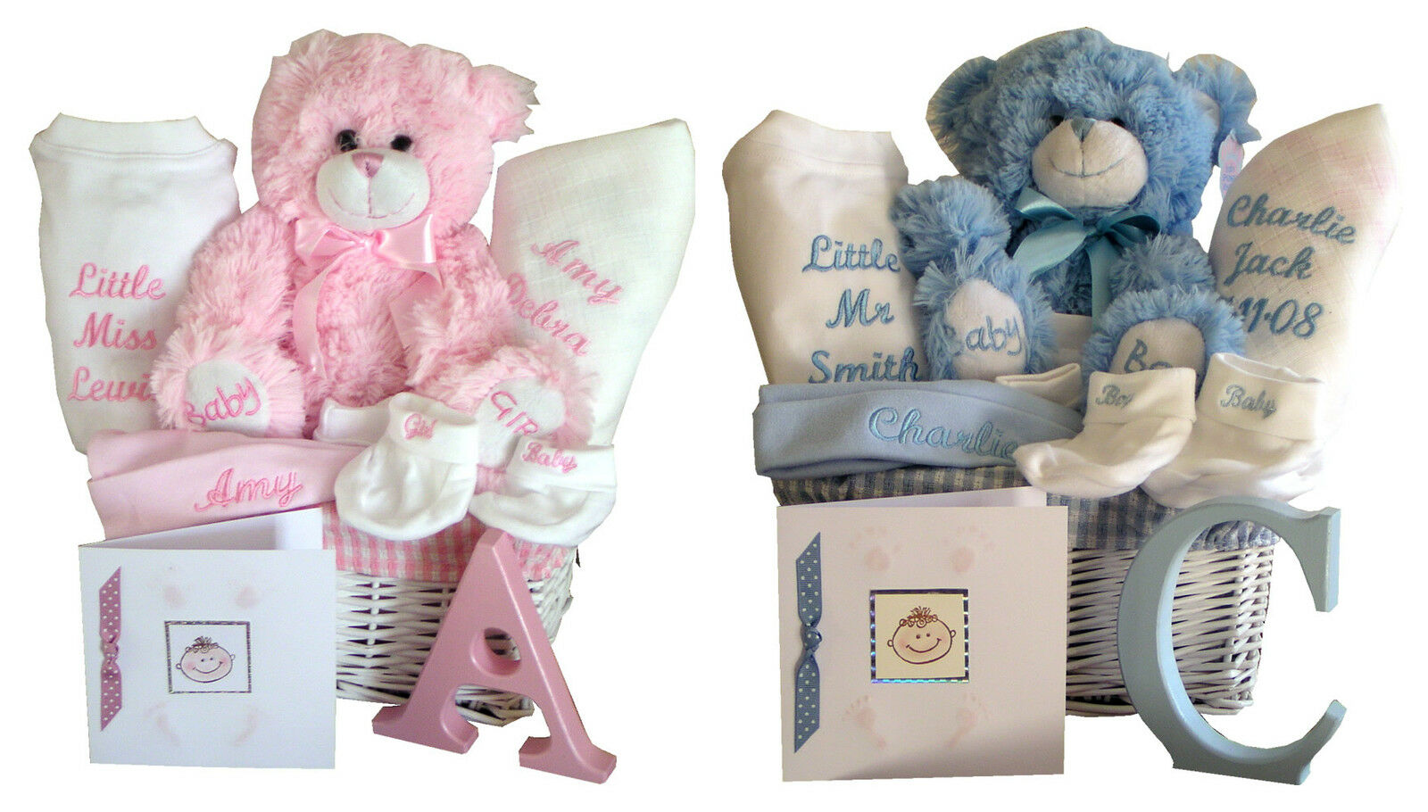 Unique Personalised Baby Gifts Ireland : Personalised embroidered unique baby gift basket hamper
