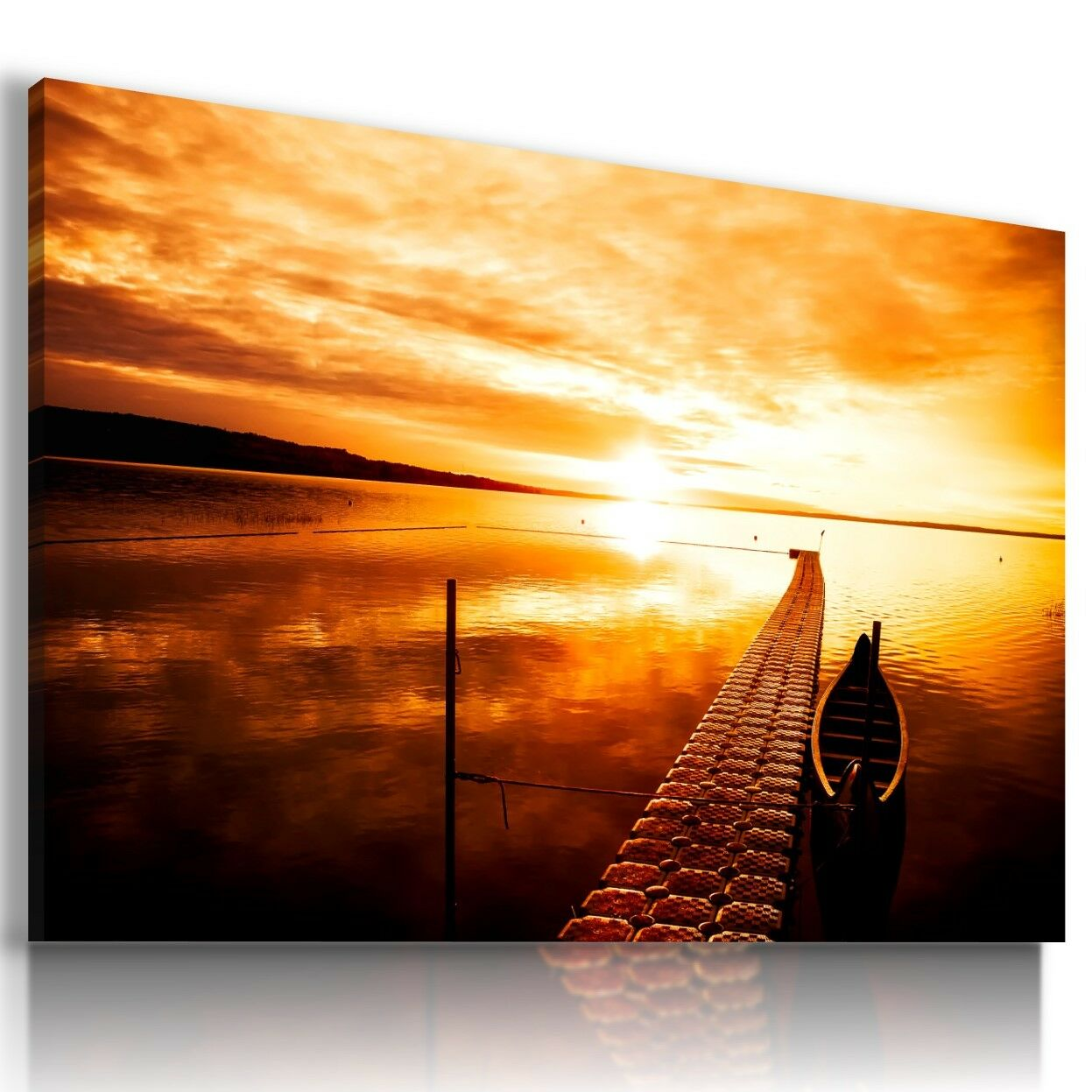 BEACH SEA PIER SUNSET Perfect View Canvas Wall Art Picture Large ...