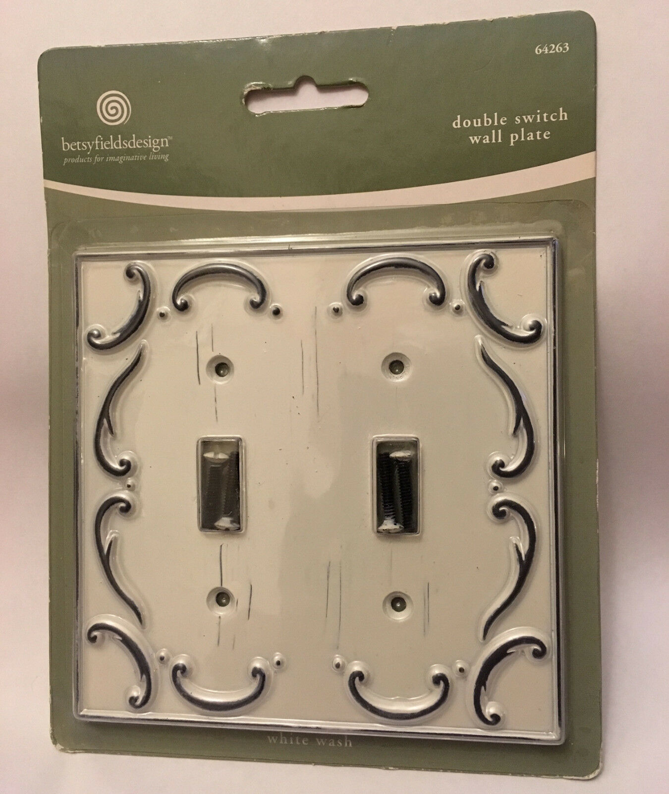 Antique Distressed White Wash Scroll Double Light Switch Wallplate Cover 1 Of See More