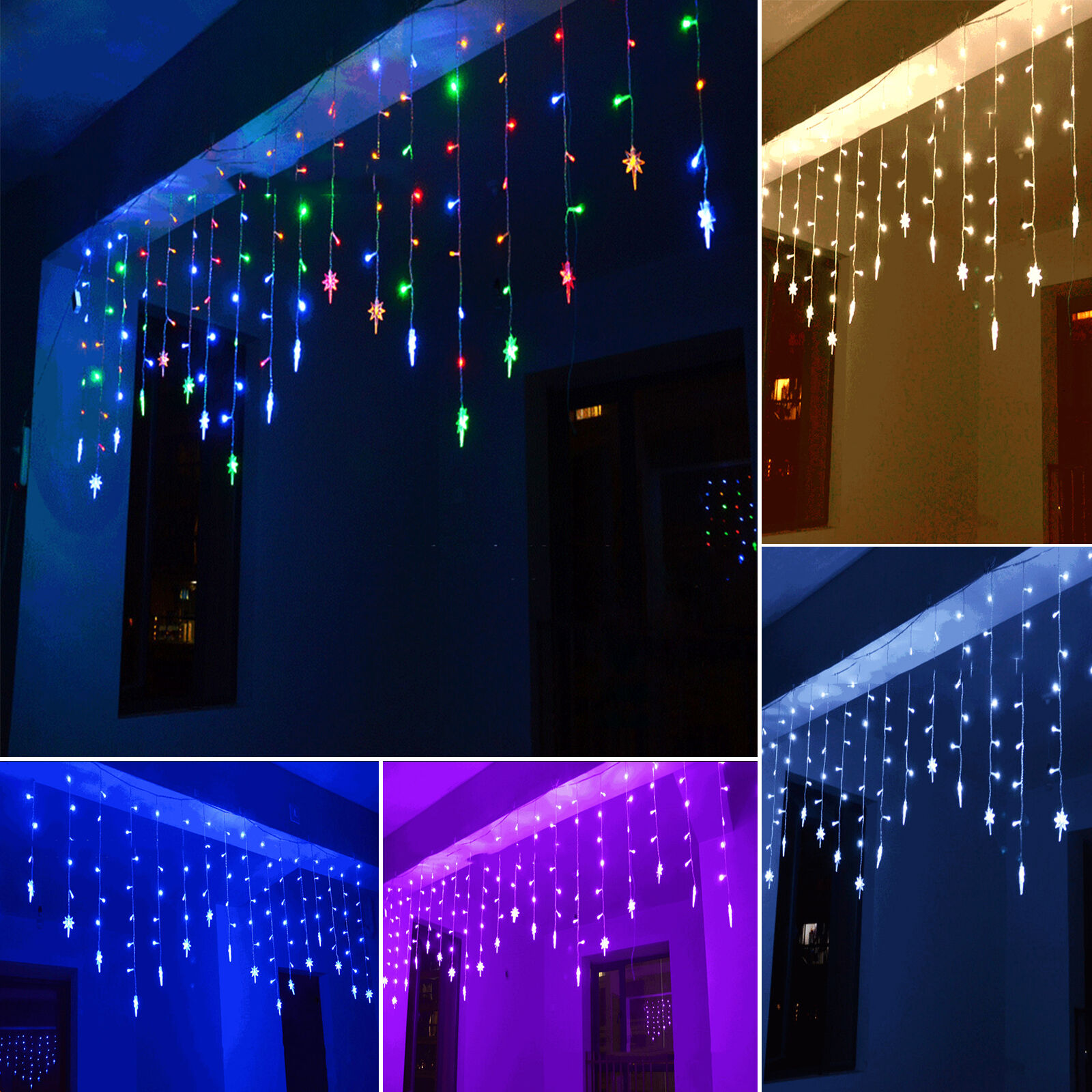 96 led stern lichterkette weihnachten treppe fenster innen au en weihnachtsdeko eur 10 79. Black Bedroom Furniture Sets. Home Design Ideas