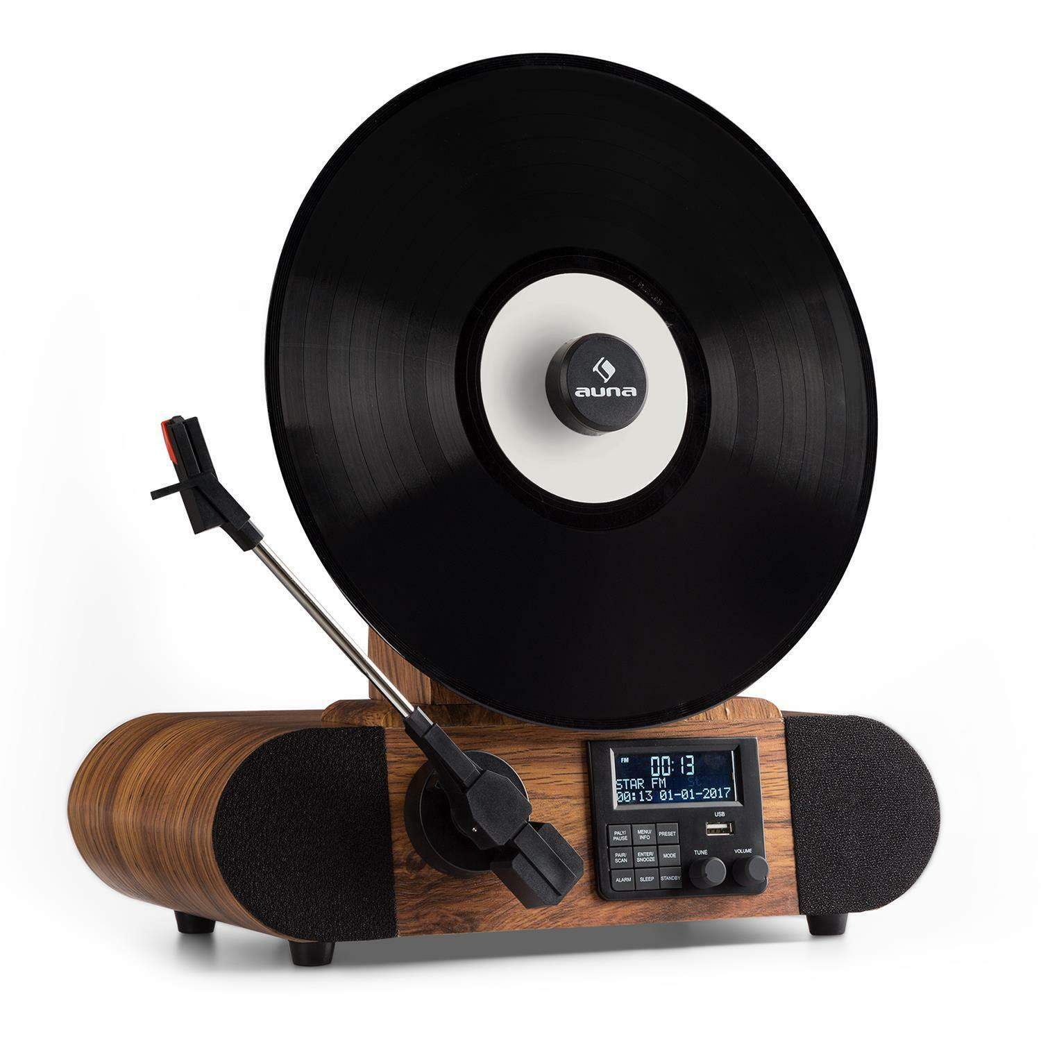 retro turntable vinyl record player dab radio fm bluetooth lp music wood veneer. Black Bedroom Furniture Sets. Home Design Ideas
