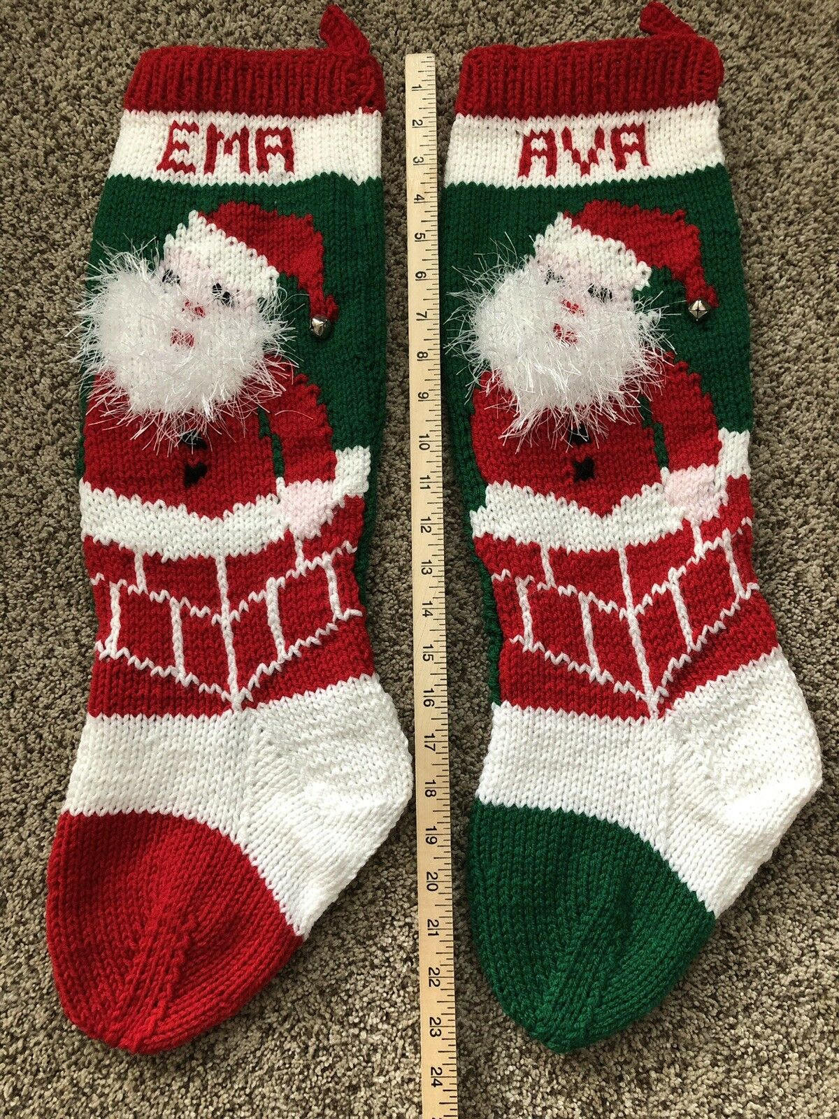 HAND KNIT PERSONALIZED Christmas Stocking Santa With Fuzzy Beard in ...