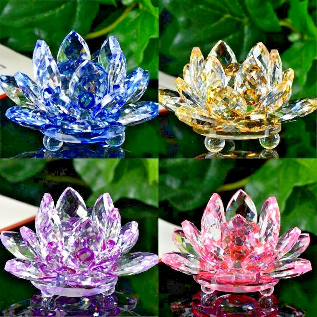 Crystal Lotus Flower Ornament Large Crystocraft Home Decor All
