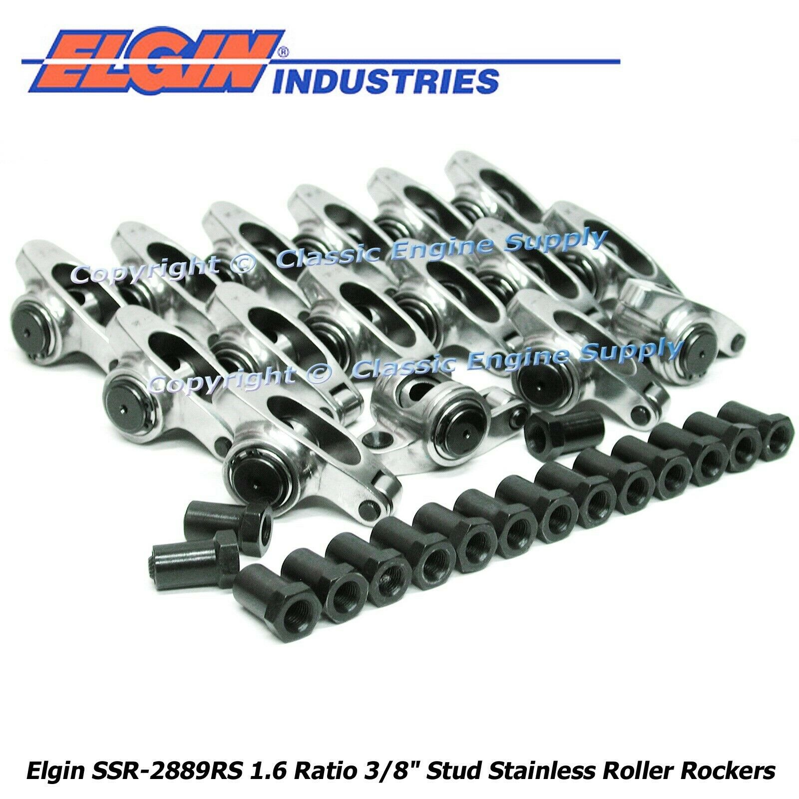 "STAINLESS STEEL ROLLER Rocker Arms 1.6 Ratio 3/8"" Studs"