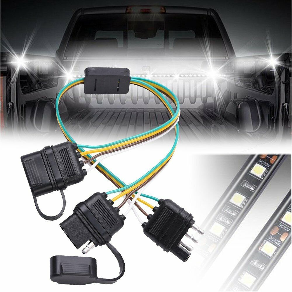 2 Way Y Splitter Flat Blade 4 Pin Tow Adapter Trailer Plug Connector Uhaul Wiring Harness Installation 1 Of 6free Shipping