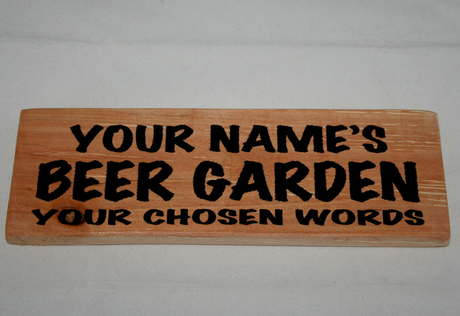Personalised name beer garden words shed sign man cave for Plaque w garage assurance