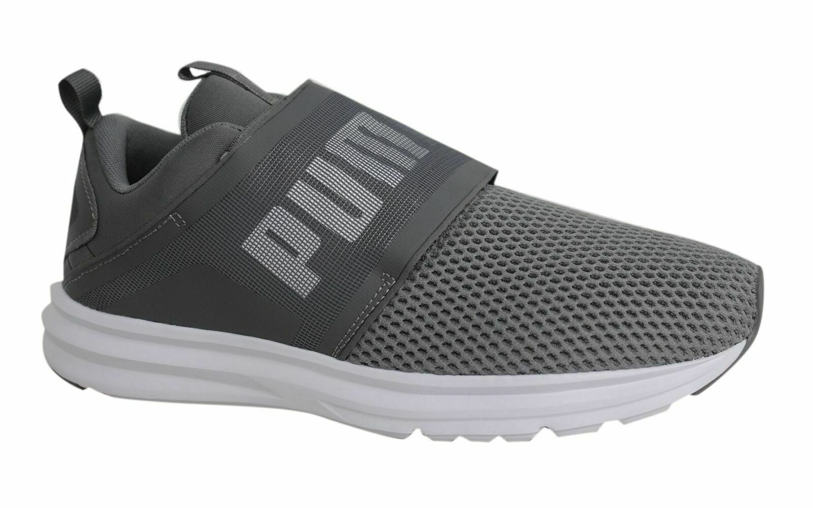 Puma Enzo Lace Up Strap Up Mens Grey White Textile Trainers 190024 04 M15 6ee4fa56b