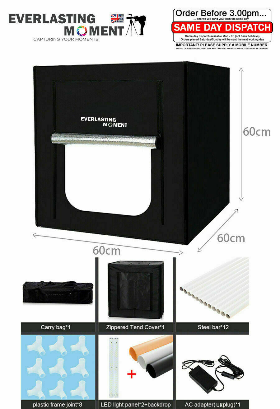 606060cm Portable Led Photo Studio Lightbox Light Tent Photography Shed Cube Softbox With 4 Colored Background 80 X 1 Of 12only Available