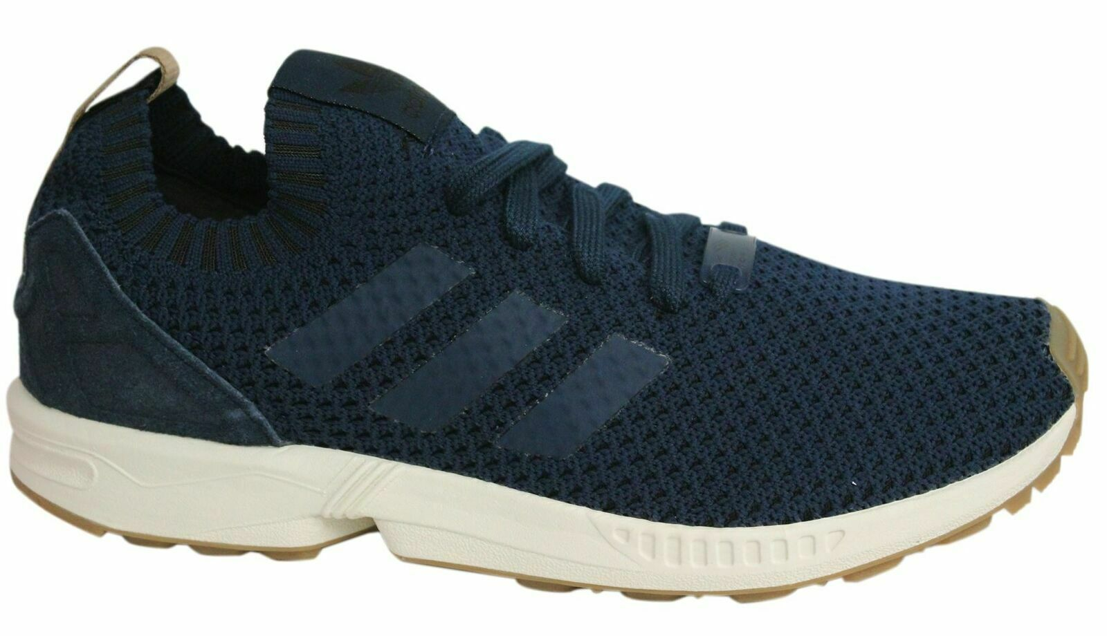 half off 78e6d 37ae2 Adidas ZX Flux PK Lace Up Navy Blue Knitted Textile Mens Trainers BA7372  U14 • $69.81