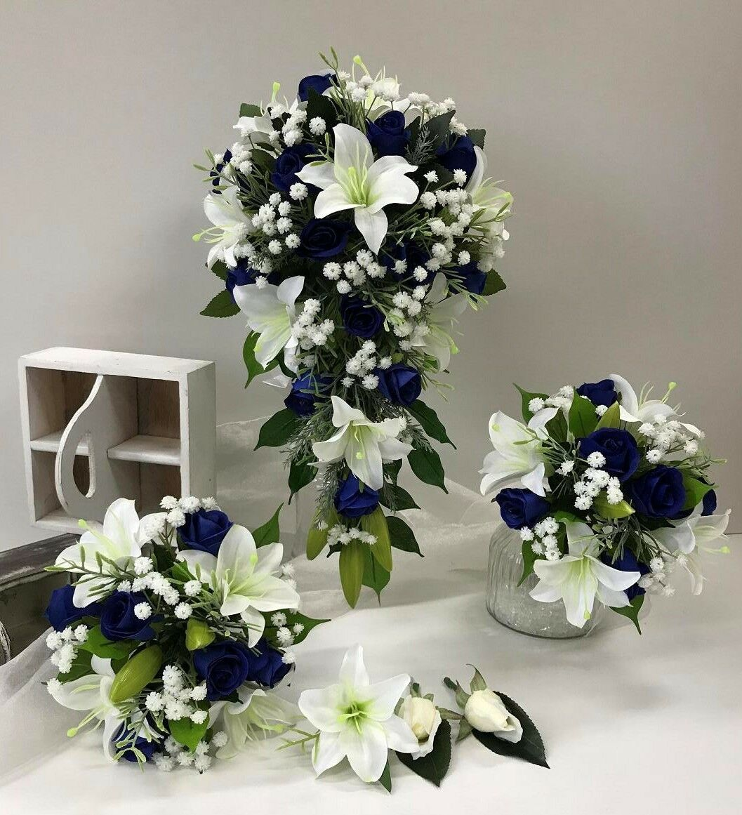Silk Wedding Bouquets White Lily Navy Blue Roses White Gyp Teardrop