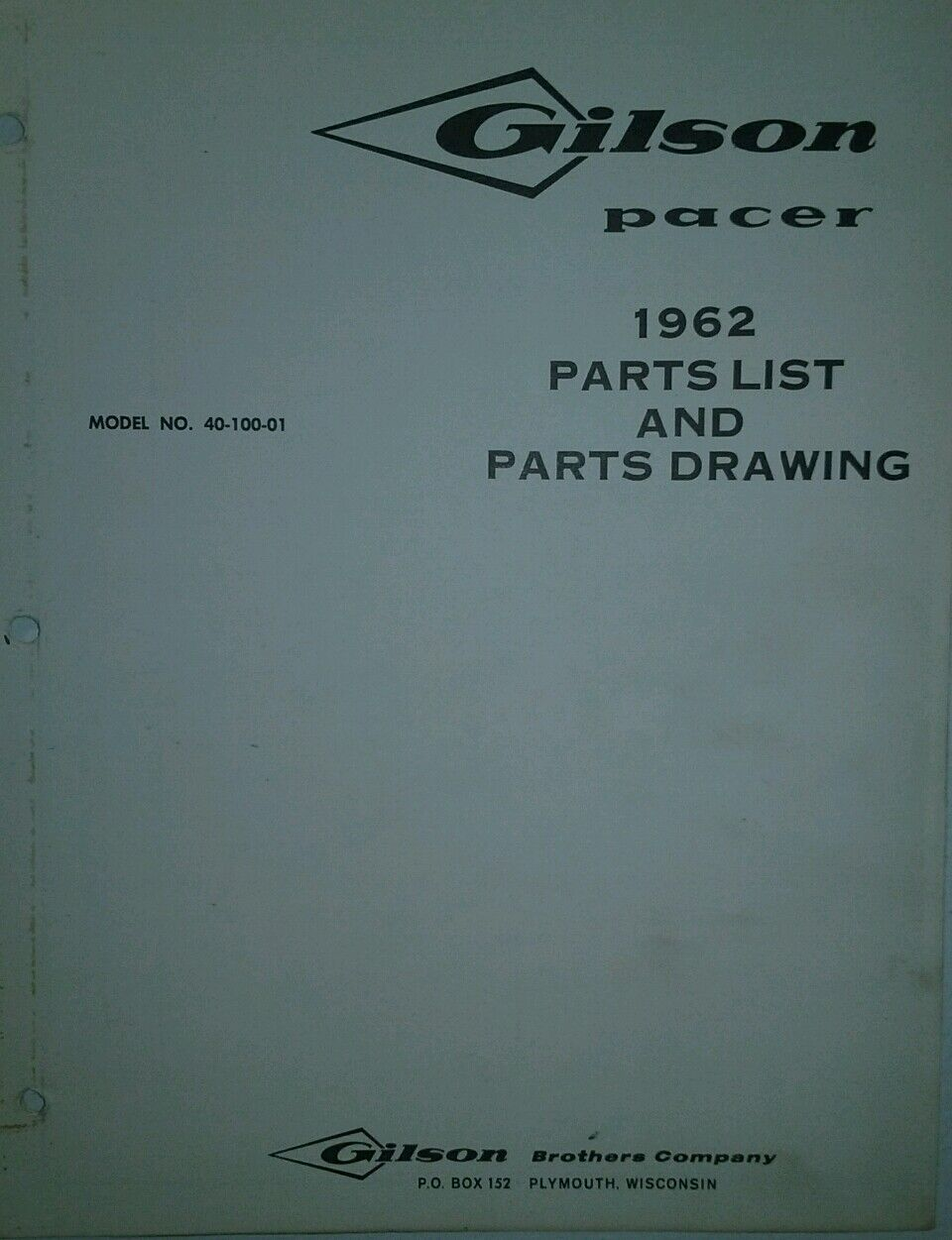 Gilson Pacer Lawn & Garden Tractor 1962 Parts Manual Riding Mower  Simplicity Lawn Mower Parts Diagram Gilson Lawn Mower Parts Diagram