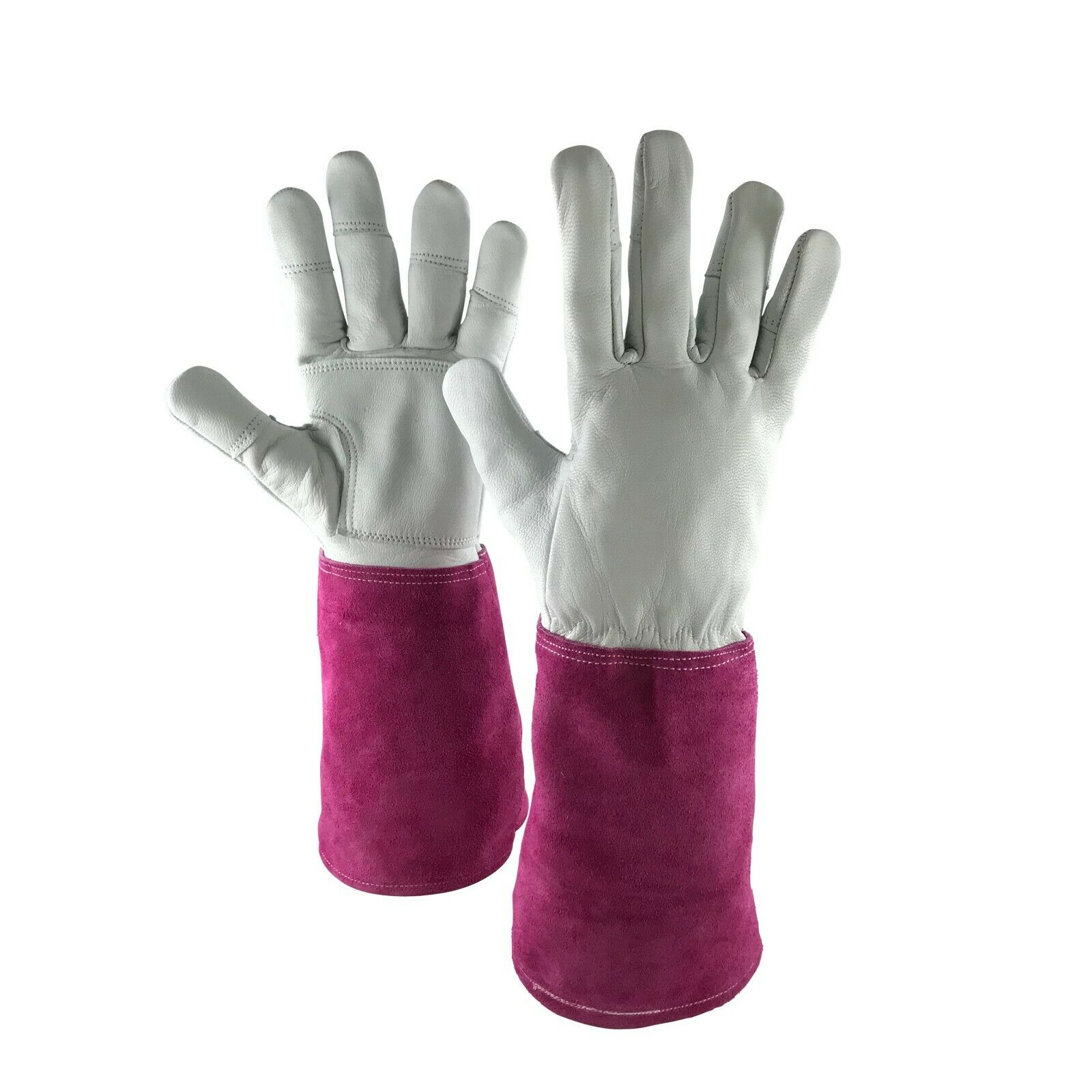 Ladies Long Sleeve Gardening Gloves   Thorn Proof Leather Gauntlet Garden  Gloves