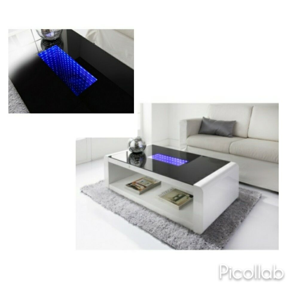 New Matrix High Gloss Coffee Table White Black With Blue Led Lighting