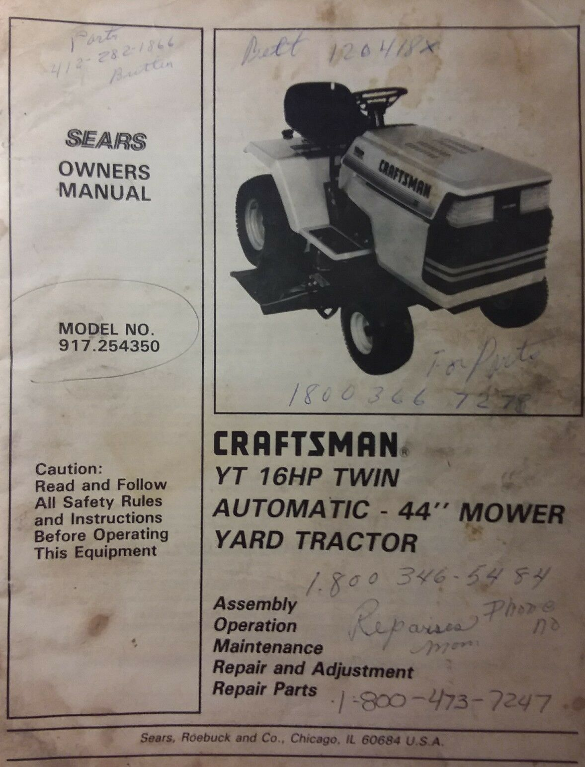 Sears Parts Manuals Lawn Tractors Craftsman Electric 3 In 1 Mower Electrical Schematics Model 900370510 Yt 16 Yard Tractor Owner Manual 917254350 Of