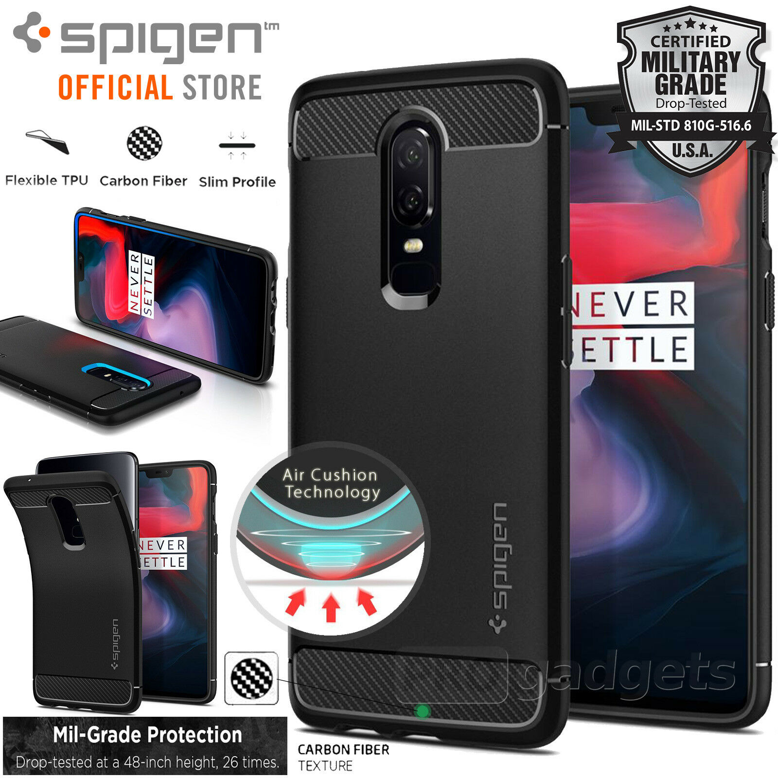 Oneplus 6 Case Genuine Spigen Rugged Armor Resilient Soft Cover For Samsung S7 Edge Carbon 1 Of 10free Shipping See More