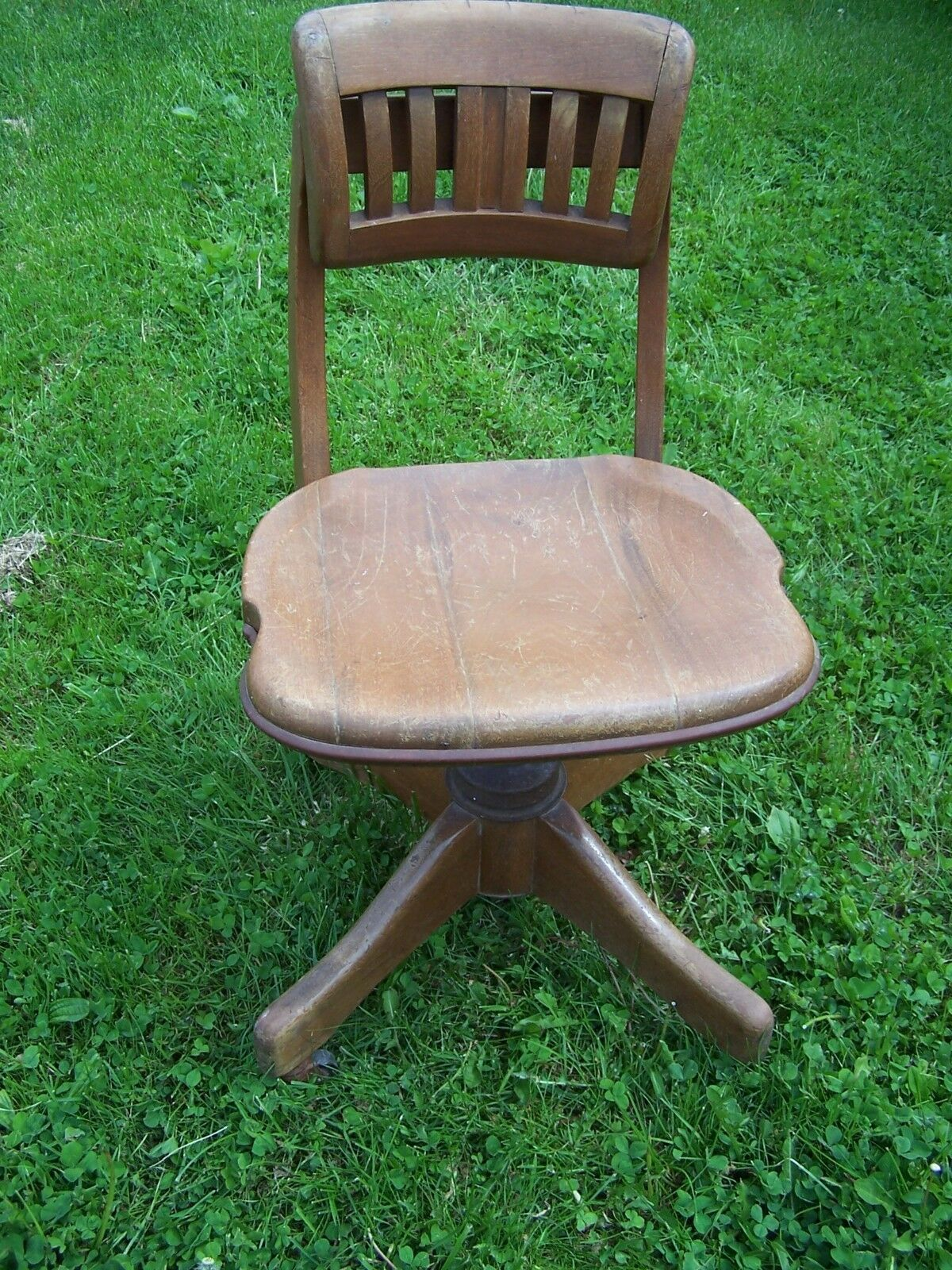 Antique Solid Wood Swivel Bankers Office Desk Chair 1 Of 3only Available