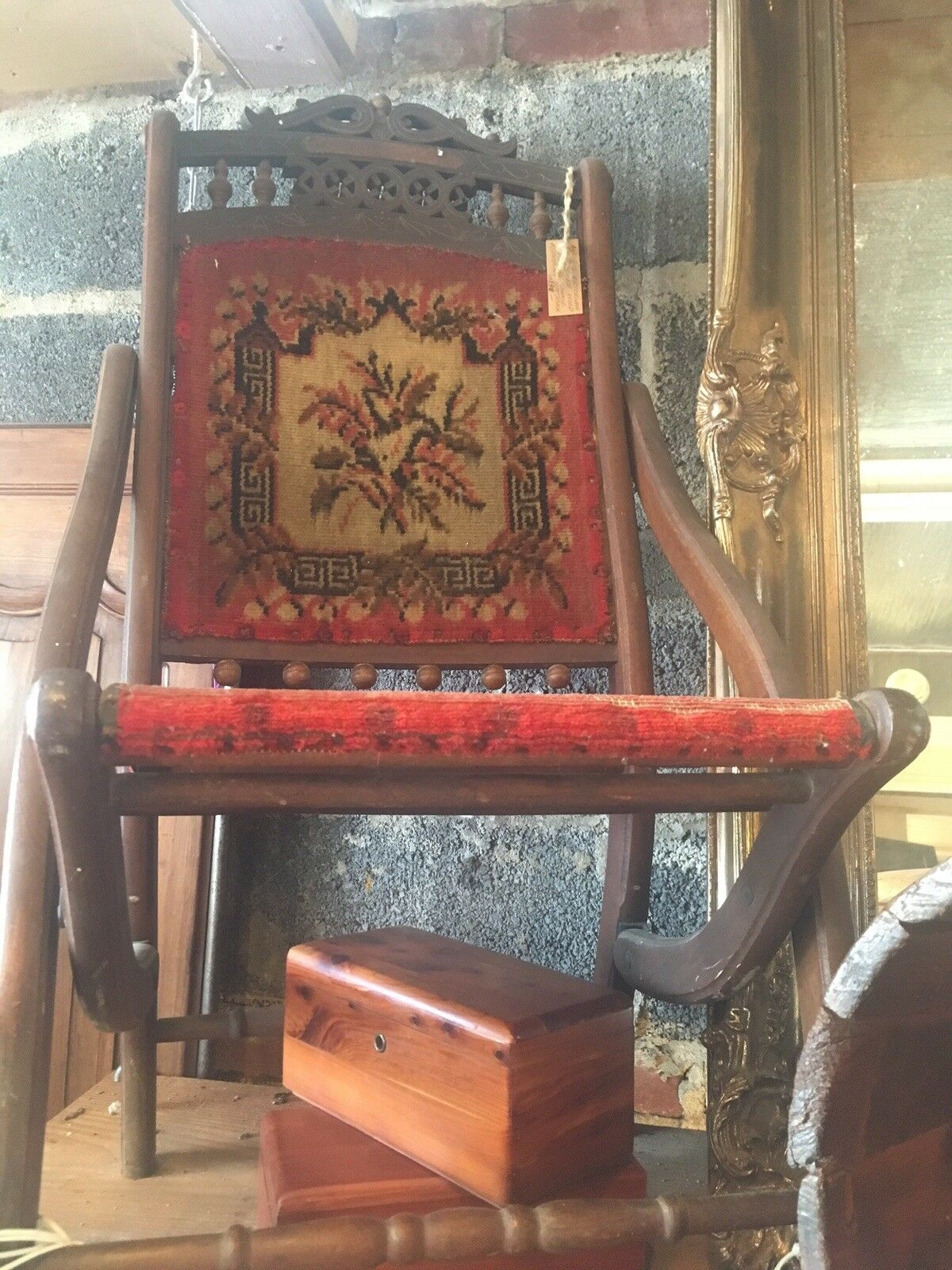 Antique Victorian Style Tapestry Seat And Back Folding Chair 1 Of 5Only 1  Available ...
