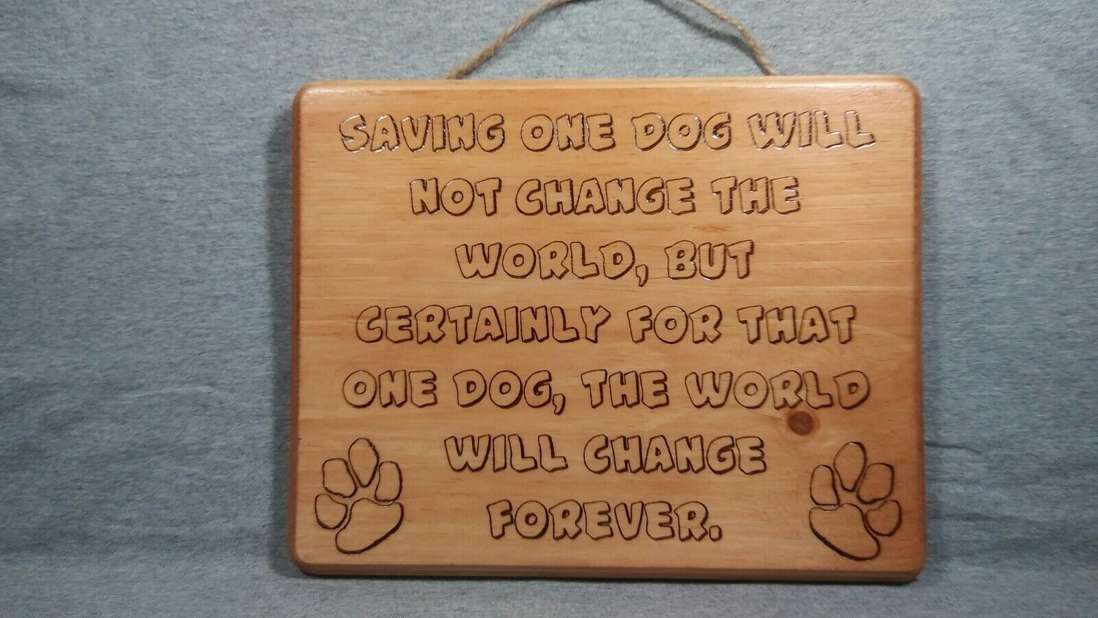 SAVING ONE DOG Handmade Wood Burned Art Pyrography Office Plaque