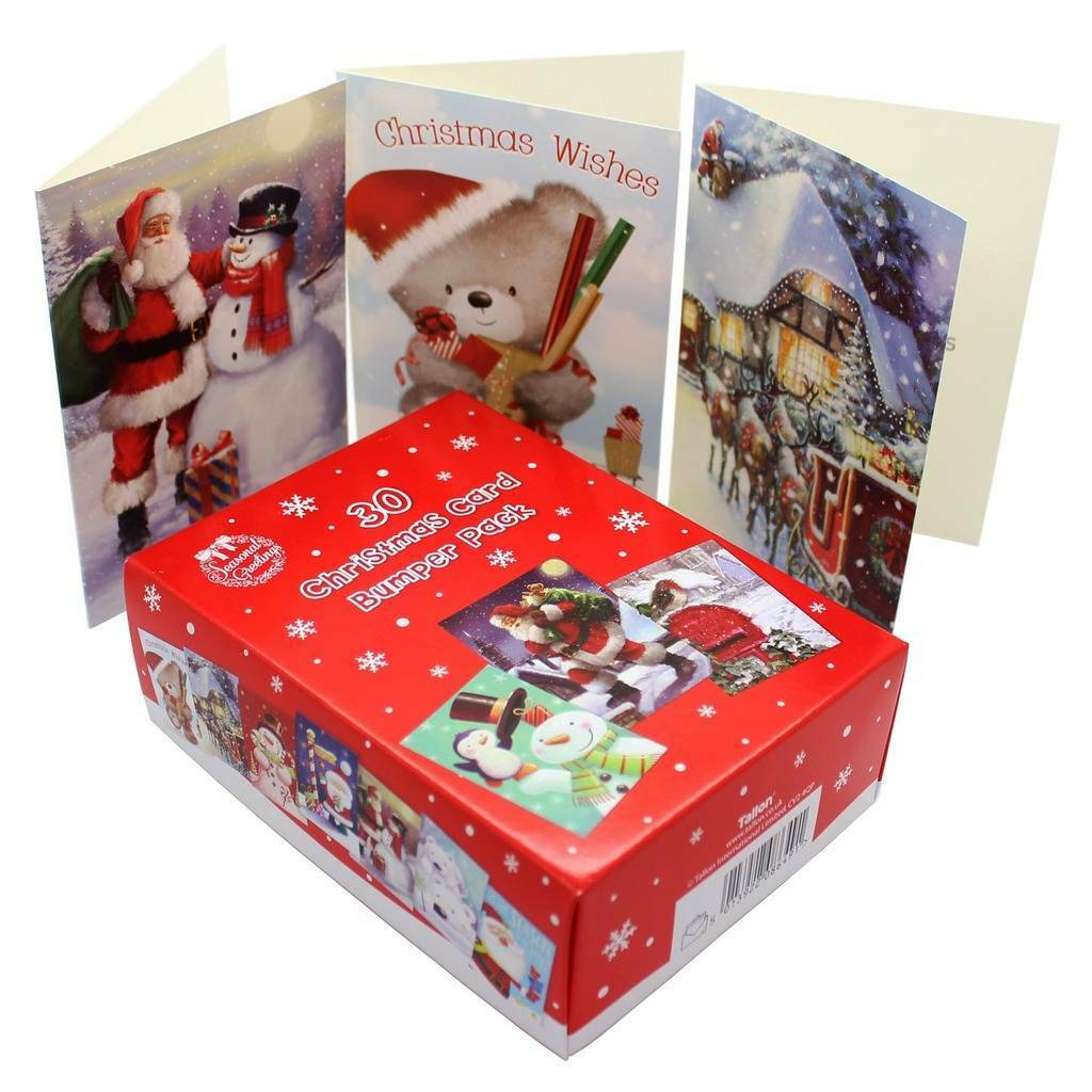 CHRISTMAS CARDS BOX of 30 Bumper Pack with envelopes 10 DIFFERENT ...