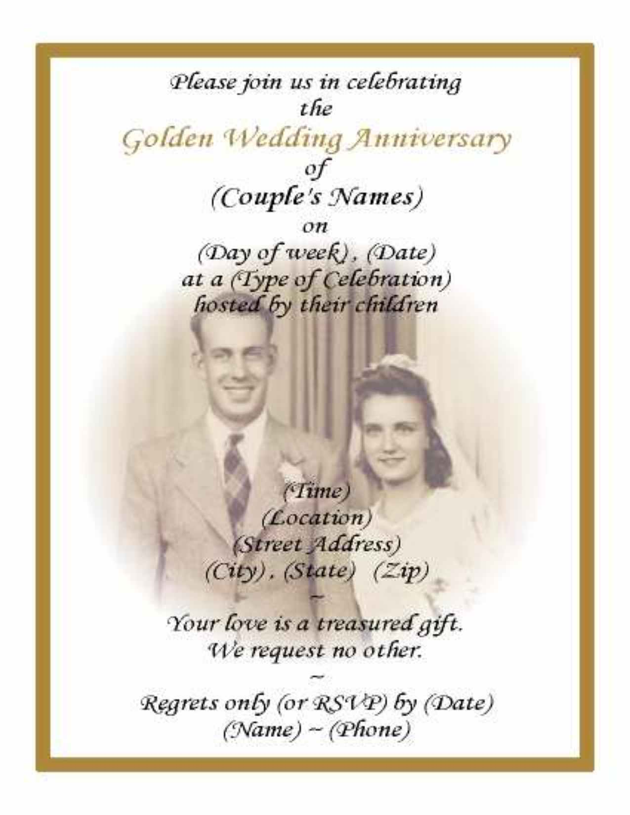 50th Wedding Anniversary Invitation Wording Samples In Hindi : 60) 50th GOLDEN WEDDING ANNIVERSARY PHOTO INVITATIONS $23.99 1 of ...