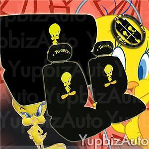 new tweety bird car seat covers steering wheel set picclick. Black Bedroom Furniture Sets. Home Design Ideas