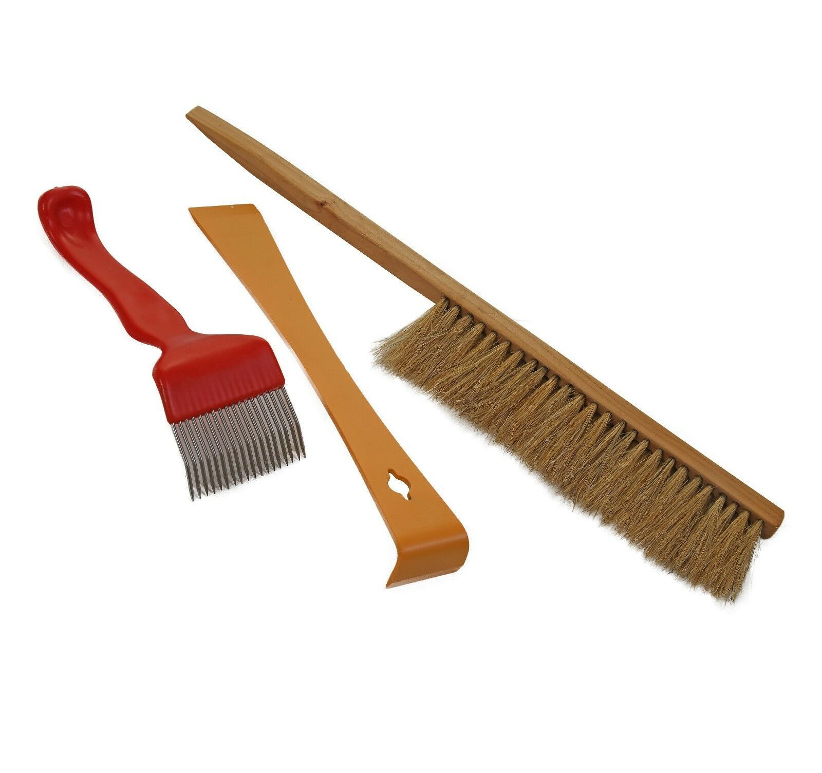 Bee brush, Hive tool, and Uncapping fork