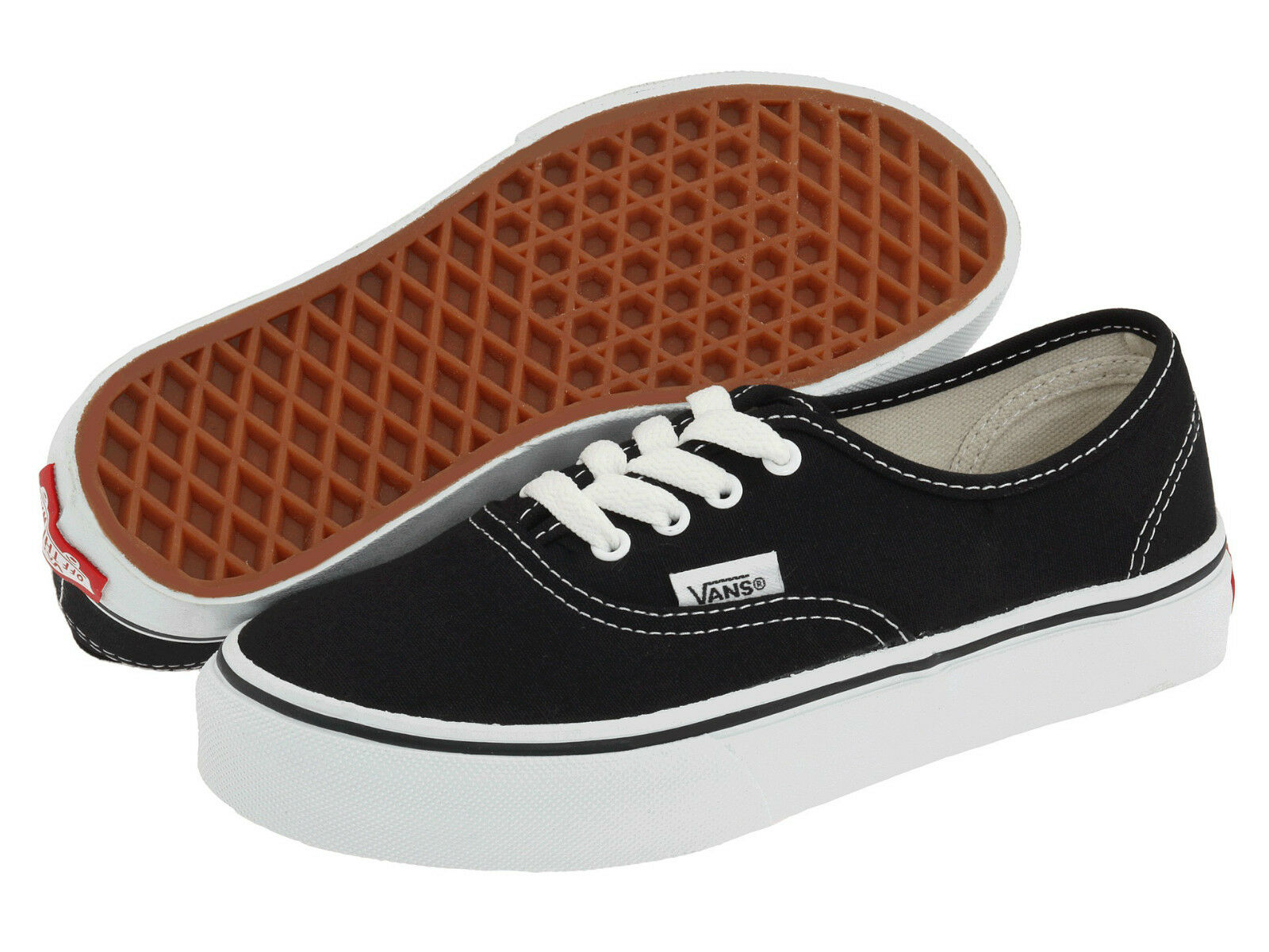 c4ebeadcae187b VANS AUTHENTIC CLASSIC CANVAS Kids Boys Girls Skate School Shoes BLACK  WHITE NEW 1 of 6 ...