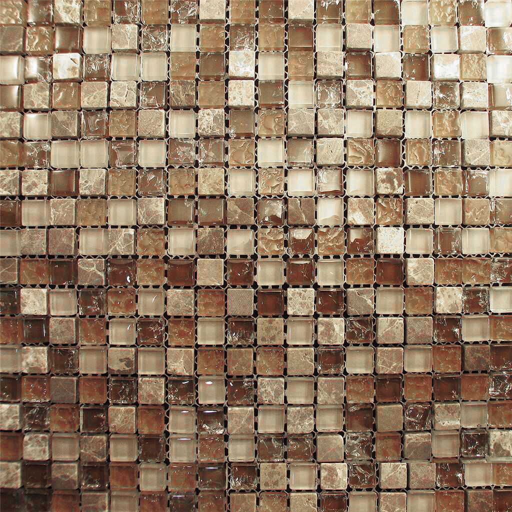 10sf Marble Brown Crackle Glass Mosaic Tile Blend For