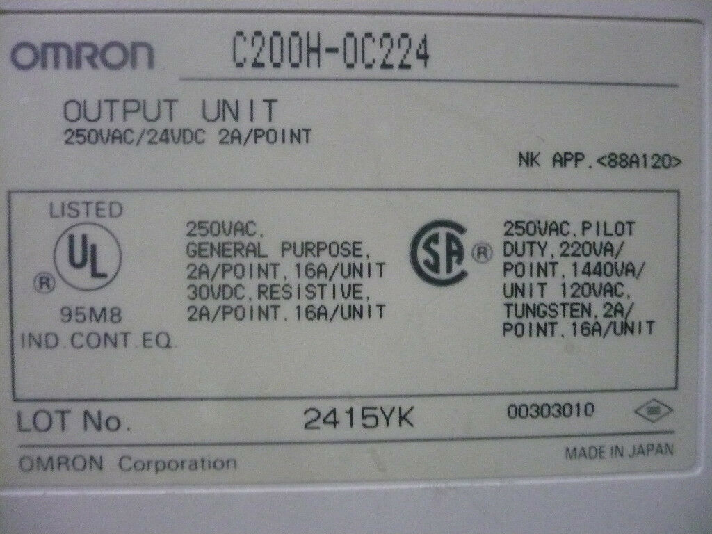 New Omron C200H-0C224 PLC Output Module
