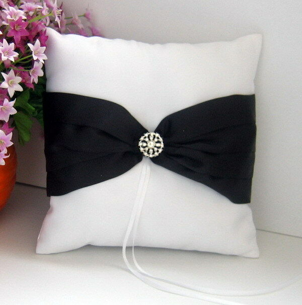 white wedding ring bearer pillow black ribbon bow