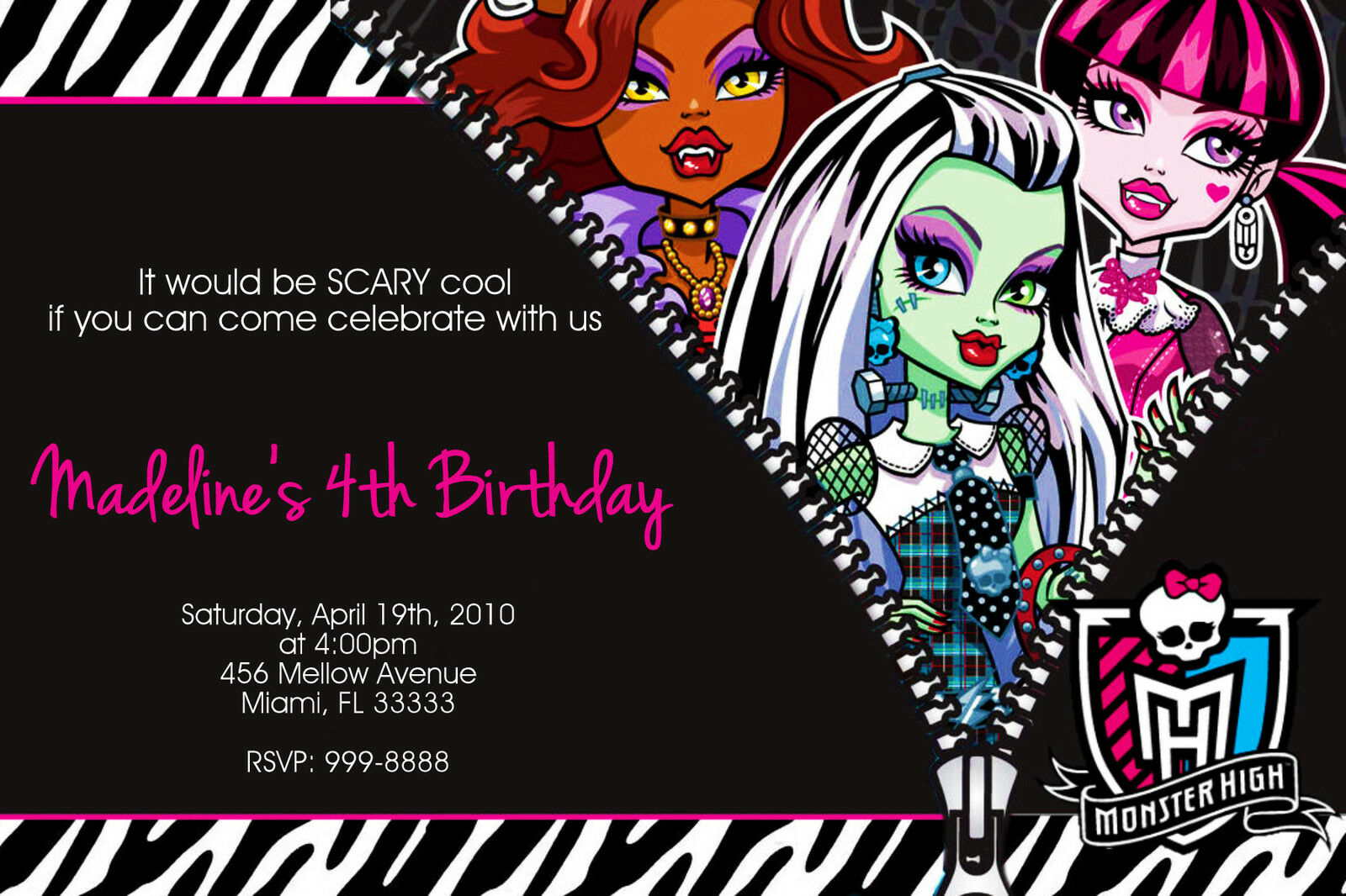 Monster High Invitation Wording with amazing invitations design