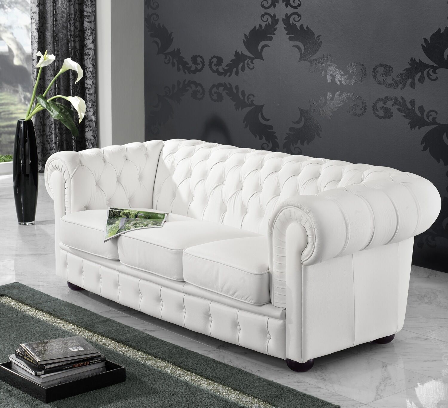 leder sofa 3 sitzer garnitur 3er chesterfield englischer landhaus stil neu eur. Black Bedroom Furniture Sets. Home Design Ideas
