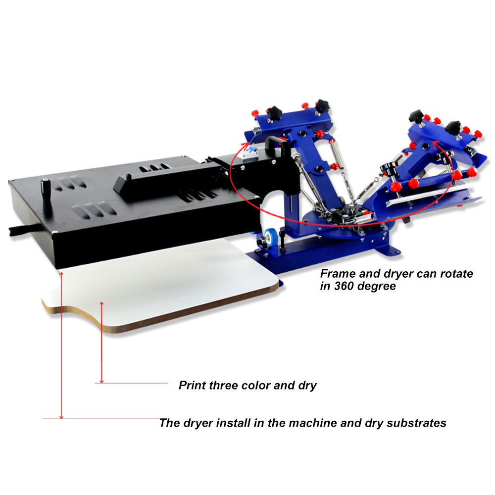 2 Color 1 Station Silk Screen Printing Press Equipment With Flash Dryer Diy Tool
